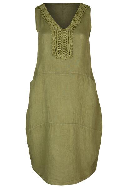 Lange jurk in linnen - Olijfgroen