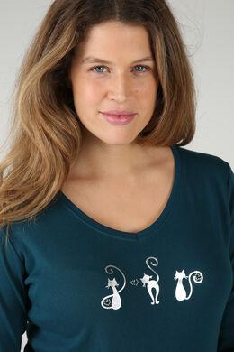 T-shirt met 3 poezen, Emerald groen