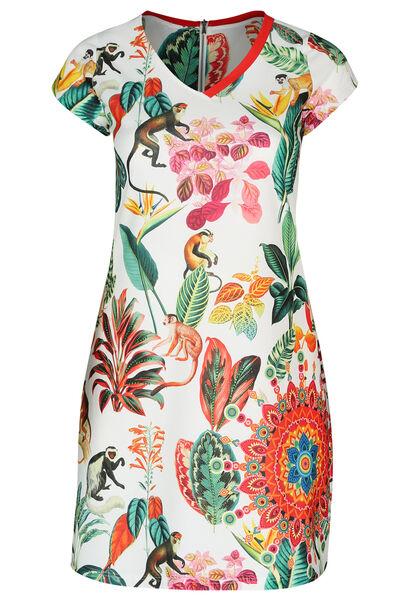 Robe imprimé tropical et singes - multicolor