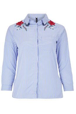 Gestreept overhemd met geborduurde bloemen, Blauw