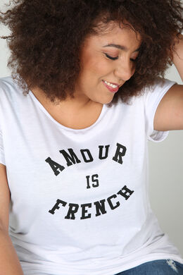 "T-shirt ""Amour is French"", Blanc"