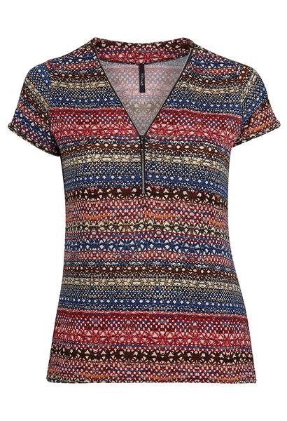T-shirt in bedrukt koel tricot - Indigo