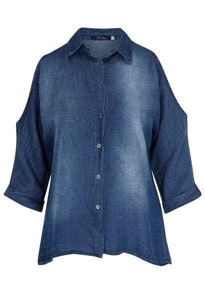 Overhemd van tencel, blote schouders - Denim