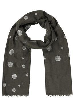 Sjaal met geborduurde lurexcirkels, Antraciet