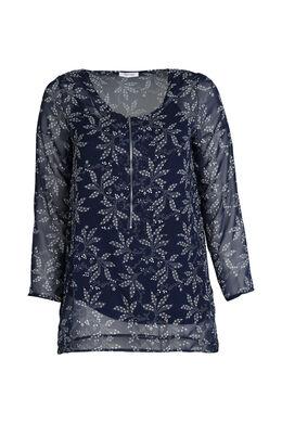 Bedrukte bloes met ritshals, Marineblauw