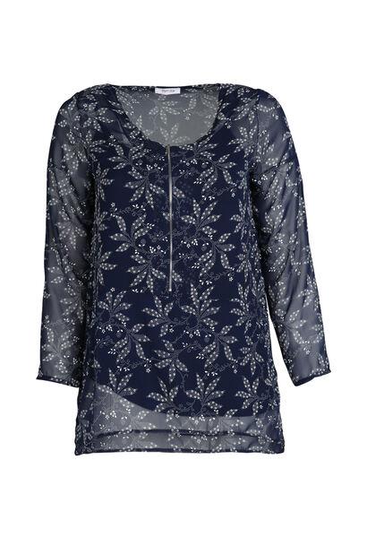 Bedrukte bloes met ritshals - Marineblauw