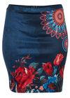 Rechte rok met mandalaprint, Marineblauw