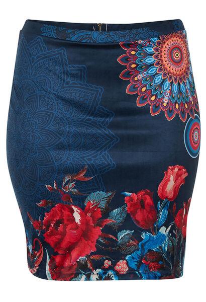 Rechte rok met mandalaprint - Marineblauw
