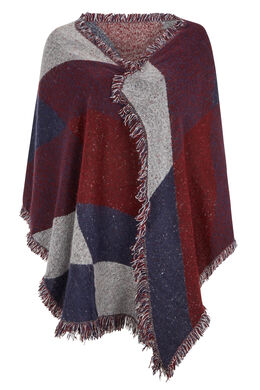Sjaal met geometrische print + kwastjes, Bordeaux