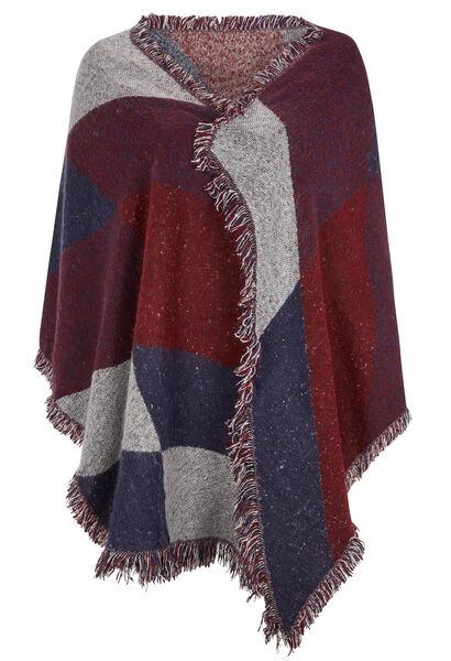 Sjaal met geometrische print + kwastjes - Bordeaux