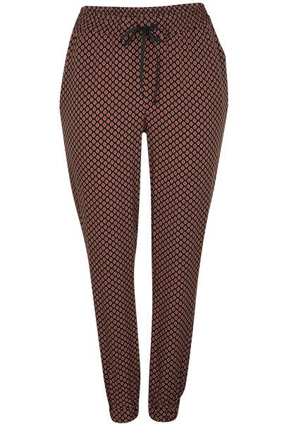Zachte, soepele broek, minimalistische print - Tomaat