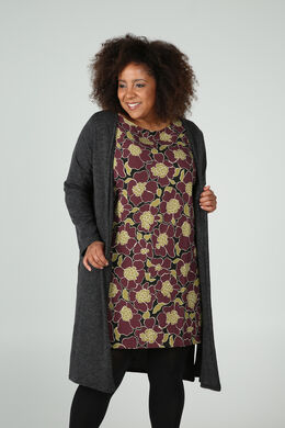 Long cardigan en maille chaude, Anthracite