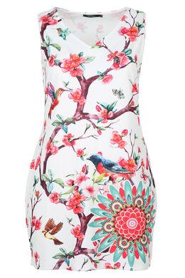Robe imprimé oiseaux et mandala, multicolor