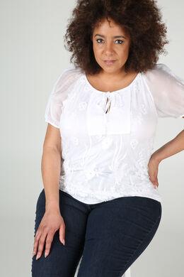 T-shirt en maille dévorée et strass, Blanc