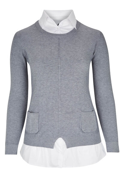 2-in-1 trui-blouse - Grijs