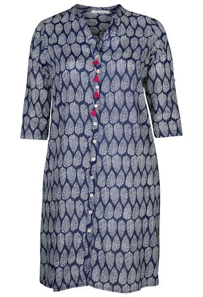Longue robe chemise imprimée - Marine