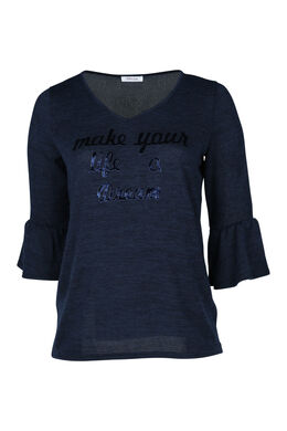 T-shirt in warm tricot met print, Marineblauw