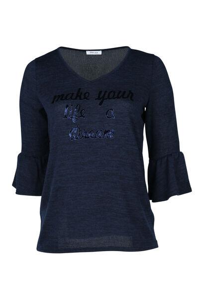 T-shirt in warm tricot met print - Marineblauw