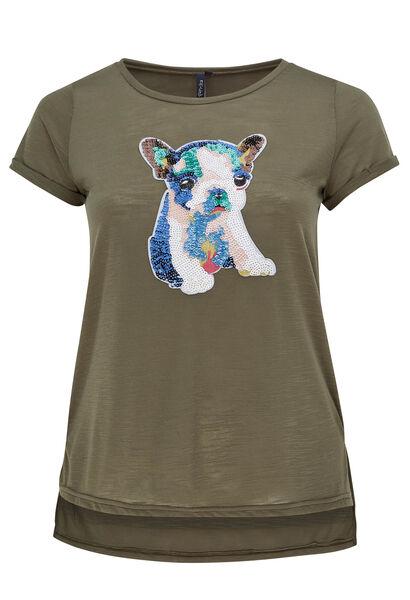 T-shirt tête de chien en sequins - Kaki