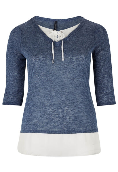 T-shirt 2-in-1 in warm, fonkelend tricot - Indigo