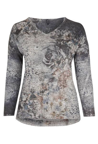 T-shirt van bedrukt, warm tricot - Grijs