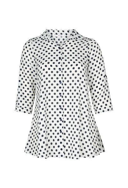 Lang hemd met witte stippen - Ecru
