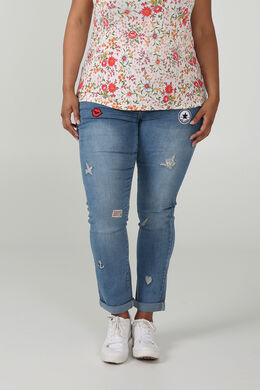 Jeans nina avec patches, Denim