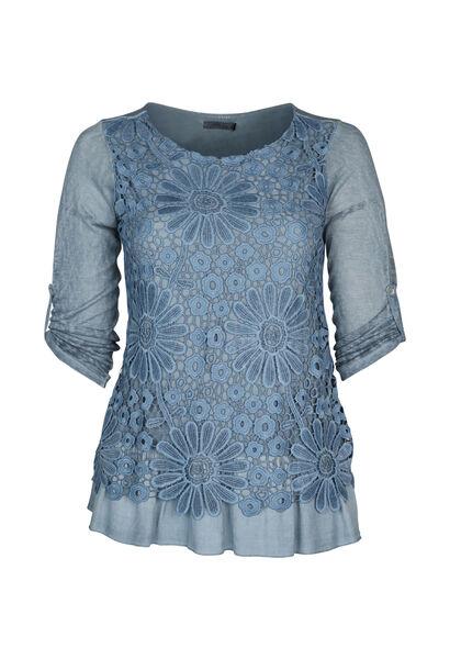 T-shirt in tricot met knoopwerk - Indigo