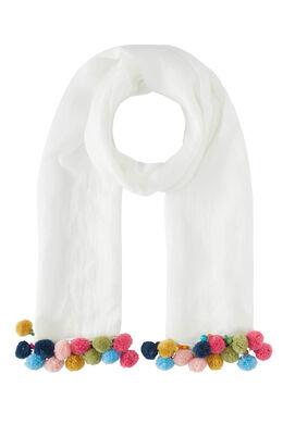Effen sjaal, veelkleurige pompons, Ecru