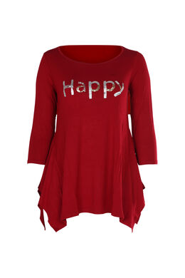 T-shirt 'Happy' in lovertjes en kralen, Bordeaux