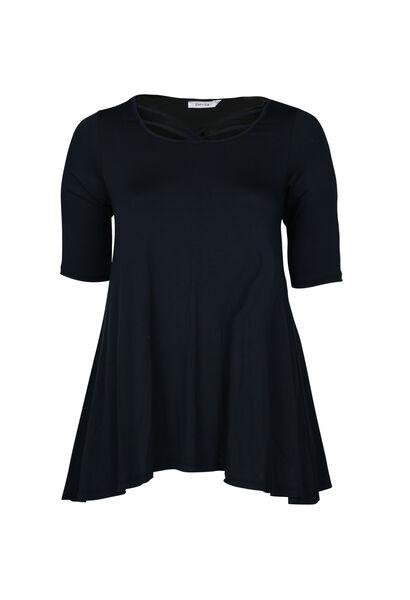 T-shirt van viscosetricot, met gekruiste hals - Marineblauw
