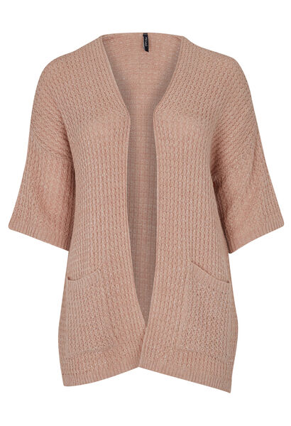 Open vest met lurex - Blush