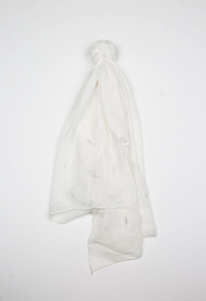 Sjaal met pluimenprint - Wit