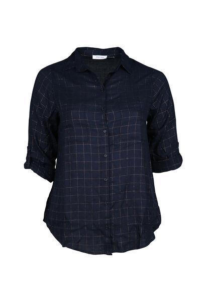 Geruite blouse - Marineblauw