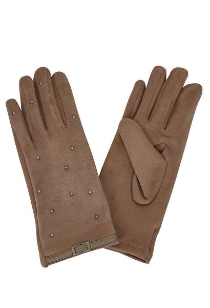 Handschoenen met lussen en studs - Taupe
