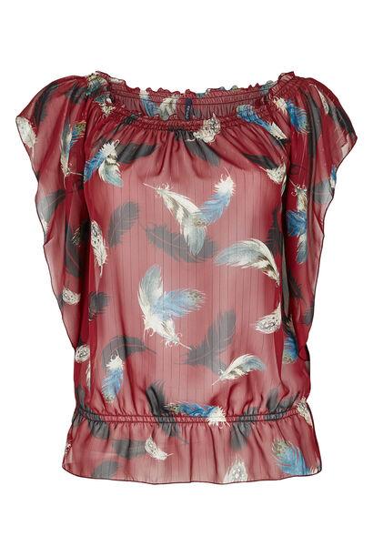 Elastische blouse van voile - Bordeaux