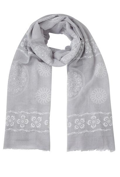Sjaal  met roosachtig gomprint - Lichtgrijs