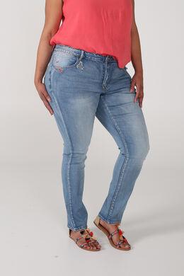 Slim jeans met borduurwerk, Denim