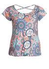 T-shirt in bedrukt tricot, Turquoise