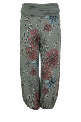 Pantalon en fibranne imprimé, Kaki