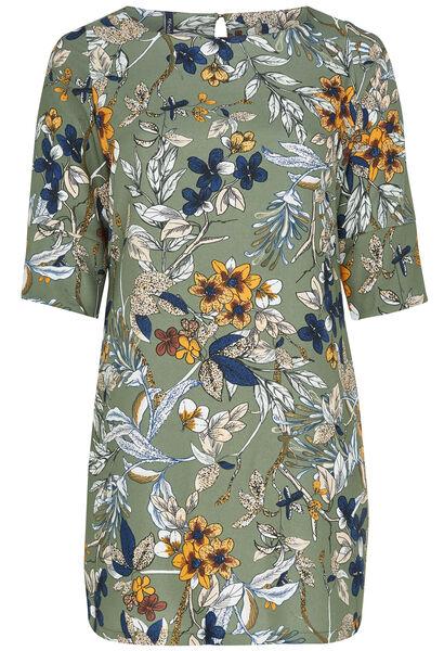 Robe imprimé floral - Kaki-clair