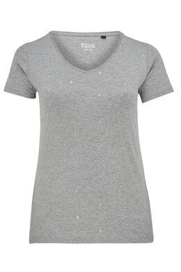 T-shirt met stippen van biokatoen, Gris Chine