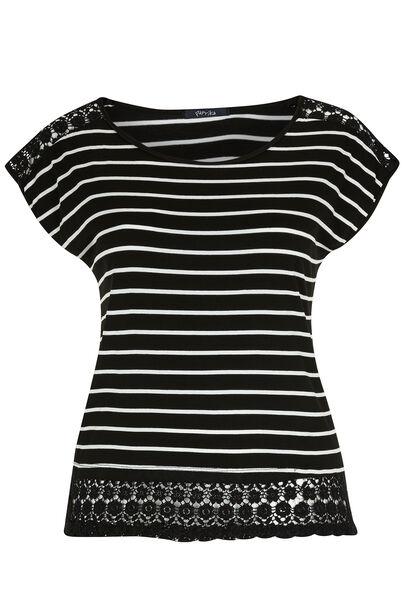 T-shirt imprimé rayé et macramé - Noir