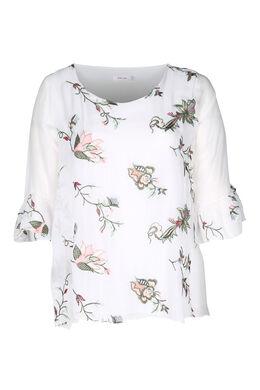 Blouse brodée de fleurs, Blanc