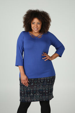 T-shirt met gekruiste linten vooraan, Bic blauw