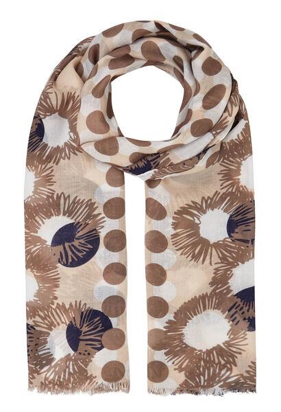 Foulard imprimé pois et fleurs - Beige