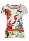 T-shirt met mandalaprint en strasvogel, Wit