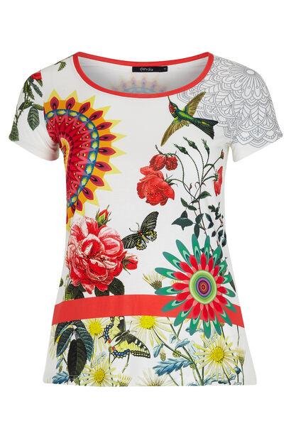 T-shirt met mandalaprint en strasvogel - Wit
