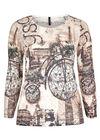 T-shirt maille dévorée et vélo strass, Beige