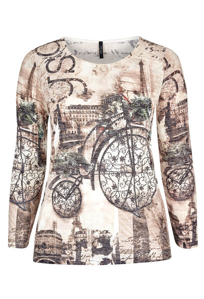 T-shirt maille dévorée et vélo strass - Beige